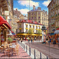 The Tile Mural Store (USA) - Tile Mural - Rue Du Soliel - Kitchen Backsplash Ideas - This beautiful artwork by Sam Park has been digitally reproduced for tiles and depicts a French Street Scene.  This street scene tile mural would be perfect as part of your kitchen backsplash tile project or your tub and shower surround bathroom tile project. Street scenes images on tiles add a unique element to your tiling project and are a great kitchen backsplash idea. Use a street scene tile mural, perhaps a Tuscan theme tile mural, for a wall tile project in any room in your home where you want to add interesting wall tile.
