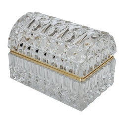 Pre-owned Antique Cut Glass Jewelry Box - An antique cut glass jewelry box, perfect for a vanity to keep your treasures and trinkets safe. The box features a quilted cut pattern in heavy glass on all sides with a 20 point star burst design on the bottom. The box has a curved domed top and a piano style brass hinged lid. The box is unmarked.     The box is in excellent condition with no chips, cracks or scratches.