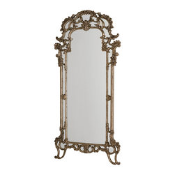 Hammary - Hammary Jessica McClintock Silver Veil Floor Mirror - Belongs to Jessica McClintock Collection by Hammary, Beveled Mirror , Wall Mirror Supports Included, Arched Mirror Shape, Silver Finish, Floor Mirror 1