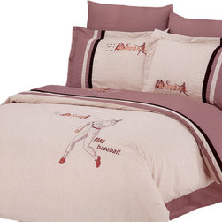 Le Vele - Le Vele Baseball, Embroidery 6pc Duvet Cover Sheet Set Bed in a Box Queen LE132Q - The grace of cotton meets with the elegance of Embroidery with this ensemble with baseball players embroidered on a Gray-Sand backdrop that reverses to a solid Mauve-Sand.