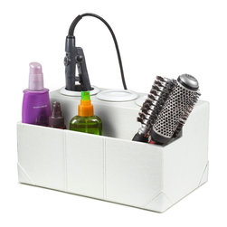 Great Useful Stuff - White Crocodile Leatherette Hair Styling Station - Having fabulous hair requires lots of tools and equipment, so get the perfect beauty tool organizer to guarantee that you will never have another bad hair day again! Our brand new White Crocodile Leatherette Hair Styling Station conveniently holds all essential hair styling tools while hiding those unsightly cords.There is room to hold 3 electrical hair stylers (blow-dryer, curling iron, flat iron, etc.). The second compartment can be used to hold a power strip so your stylers are always plugged in and ready to go, or it can be used for holding brushes, combs, hair styling products and more!
