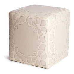 Brighton Cream Leather Linen Contemporary Cube Ottoman