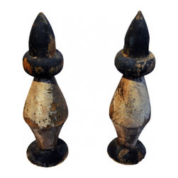 Pair of Finials - A pair of very old wood finials believed to be decorative pieces on old fence posts. Hand carved with nice patina and age.