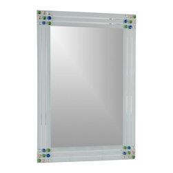 Decor Wonderland Mirrors - Decor Wonderland Square Bevel Frameless Bathroom Mirror - Lighten up your home decor with this fabulous large square mirror featuring embellishments on all 4 corners and unique v grooved shaving. This frameless mirror is a perfect way to open up any space in your home.