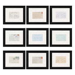 Paragon - Paris Postcards PK/9 - Framed Art - Each product is custom made upon order so there might be small variations from the picture displayed. No two pieces are exactly alike.