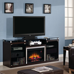 ClassicFlame - Albright Electric Fireplace Entertainment Center in Espresso - 26MM9404-E451 - The Albright Electric Fireplace Entertainment Center in Espresso is an incredibly handsome and modern-looking media console. The clean and crisp lines, deep espresso finish, glass and brushed metal surfaces, polished nickel door pulls, and other innovative design features give this media center a very contemporary aesthetic appeal. The stand also provides an excellent place to display and house your television, electronics and other entertainment accessories, keeping everything well organized.