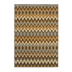 """Frontgate - Tucson Outdoor Rug - Rug is only .16"""" thick. Lightweight and easy to move. Loomed of durable 100% polypropylene. Easy to clean; rinse with hose and allow to dry in the sun. Use mild soap for hard to clean stains. With an exotic design and a range of shapes and sizes, our Tucson Outdoor Rug is designed to tie your favorite outdoor setting into a cohesive composition. A neutral palette is woven together into a striking zigzag motif, transforming this durable floor covering into a comfortable field for stylish and versatile entertaining..  . . . . . Imported ."""