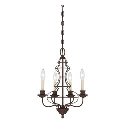Quoizel Lighting - Quoizel Lla5004 4 Light Up Lighting Chandelier - This up lighting chandelier from the Jordan collection features a unique wire-cage design. This kind of dedication, integrity and quality not only goes into the design of their products, but its in the way they do business as well. In addition, Quoizel lighting features an excellent selection of the ever popular stained glass Tiffany lamps.
