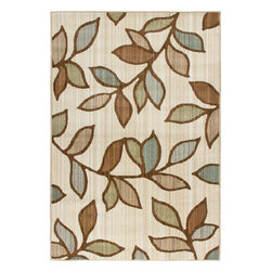 """Orian - Orian Anthology Grove Leaves (White, Beige) 5'3"""" x 7'6"""" Rug - The Anthology Collection was inspired by the rustic tradition of hand-crafted Gabbeh style rugs. The construction combines numerous yarns to create a subtle variation in the design and color of each rug. The unique shading captures the eye and adds subtle texture to the sophisticated designs."""
