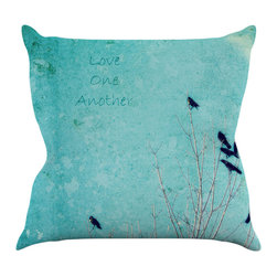 """Kess InHouse - Robin Dickinson """"Love One Another"""" Blue Birds Throw Pillow (16"""" x 16"""") - Rest among the art you love. Transform your hang out room into a hip gallery, that's also comfortable. With this pillow you can create an environment that reflects your unique style. It's amazing what a throw pillow can do to complete a room. (Kess InHouse is not responsible for pillow fighting that may occur as the result of creative stimulation)."""