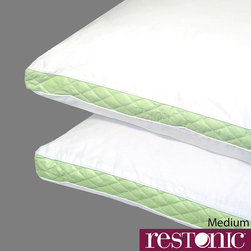 RESTONIC - Restonic Quilted Medium/ Firm/ Extra Firm Density Pillows (Set of 2) - This uniquely designed pillow from Restonic ®, one of the most well-known names in bedding, features a generous gusset that matches personal sleep preference. The pillow features a gusset that matches personal sleep preference.