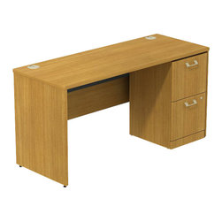 "BBF - BBF Quantum 60W x 24D Single Pedestal Desk Credenza 2 Drawers - BBF-Commercial Grade Office-QUA046MC-Artfully designed Quantum never goes out of style. Arrange it for basic small-footprint configurations or expand and accessorize for more complex needs. The BBF Quantum Modern Cherry 60"" W Single Pedestal (F/F) Desk/Credenza offers style and storage for any office. Single Pedestal Desk/Credenza features a 22"" deep work surface and integrated wire management so you can spread out and keep wires neat. Complements all Quantum desks and works with any office decor. The 2-Drawer Pedestal has two file drawers to accommodate Letter-Legal-or A4-size files. Full-Extension ball bearing slides provide easy access to back of drawers and all it's contents. Central lock keeps both drawers secure. Puts all of the benefits of fingertip storage to work immediately and fits under credenzas or desks. Thermally fused laminate surface resists scratches and stains while durable edge banding protects against dings and dents. Includes BBF Limited Lifetime warranty is American made and GSA approved."