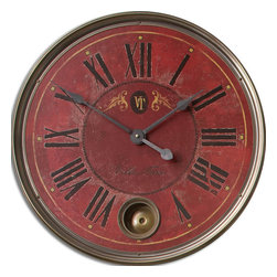 "Uttermost - Regency Villa Tesio 23"" Red Wall Clock - You favor timeless, traditional style; no wonder you're struck by this elegant clock.  With Roman numerals, a weathered finish and touches of aged aluminum and brass, it's the perfect accent piece for your favorite setting."