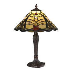 Z-Lite - Z-Lite Z14-46TL Jenova 2 Light Table Lamps in Chestnut Bronze - Deep jewel tones set against a honey background to compliment the warm light of this Table lamp fixture. The hardware is finished chestnut bronze.