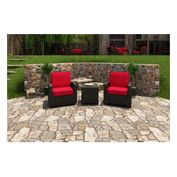 Barbados 3-Piece Modern Patio Chat Set, Ruby Cushions
