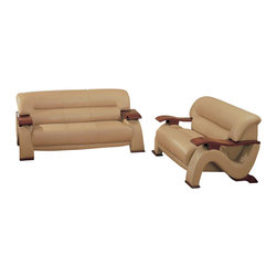 Global Furniture - 2 Pc Leather Match Living Room Set in Cappuccino - Includes sofa and loveseat. Made of leather match. Sofa: 76 in. W x 38 in. D x 33 in. H (143 lbs.). Loveseat: 59 in. W x 38 in. D x 33 in. H (116 lbs.)