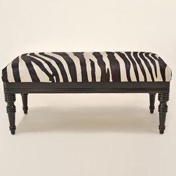 Zebra Hair on Hide Ottoman - Zebra Hair on Hide Provence Ottoman