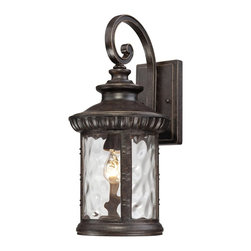 Quoizel - Quoizel CHI8409IB Chimera Transitional Outdoor Wall Sconce - Chimera, a traditional outdoor collection with unique glass, will add flair to your home's exterior.  Its imperial bronze finish works well with many decors its distinctive clear water glass is sure to make a statement for years to come.