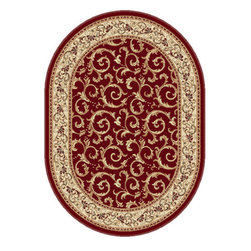 Tayse Rugs - Elegance Red, Beige and Green Oval: 6 Ft. 7 In. x 9 Ft. 6 In. Rug - - Scrollwork interior with floral border makes this rug a perfect companion to traditional or transitional d�cor. In classic colors that are always in fashion. Red with gold and ivory. Made of soft polypropylene that is easy to clean. Vacuum and spot clean.  - Square Footage: 63  - Pattern: Oriental  - Pile Height: 0.39-Inch Tayse Rugs - 5400  Red  7x10 Oval