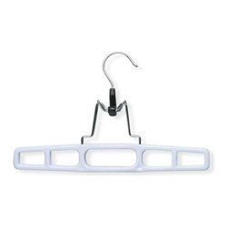 Honey Can Do - Plastic Pant Hanger with Clamp in White - Pac - Sure-grip clamp. Protects delicate fabrics. Locking clasp. Keeps clothing in place. Limited lifetime warranty. 10.25 in. L x 0.65 in. W x 7 in. H (0.59 lbs.)Honey-Can-Do HNG-01326 2-Pack Plastic Pant Hanger with Clamp, White. Economical clamp hanger for storing all your pants and skirts. Features a 360 degree swivel hook to hang items easily on any closet rod, towel bar, or coordinating top hanger. Strong clamp mechanism and non-slip soft rubber insets provide a secure, wrinkle-free hold.