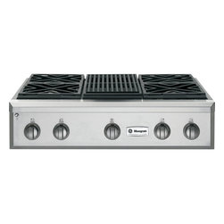 """GE Monogram - GE Monogram® 36"""" Professional Gas Rangetop with 4 Burners and Grill (Natural Gas - Crafted of premium-grade stainless steel, professional gas Monogram rangetops have an overall look of sculptural sophistication. Offering commercial-grade cooking power with infinitely adjustable heat settings, a Monogram professional gas rangetop gives you carte blanche to indulge in all forms of experimentation."""