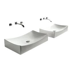 "TCS Home Supplies - European Style Porcelain Ceramic Countertop Bathroom Vessel Sink - Countertop Bathroom Vessel Sink in European Design. Porcelain Ceramic Material. Dimensions 26"" x 15-1/2"" x 5-1/2""."