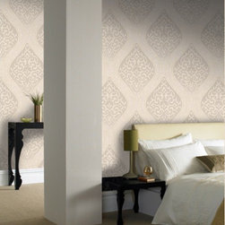 Graham & Brown - Labyrinth Wallpaper - The light reflecting surface creates an exquisite, shimmering effect and the delicately cut classical motif highlights the intricate detail of this ogee wallpaper. A mix of cream and gold provides a beautifully neutral backdrop, with Harvey providing the perfect co-ordinate. This wallpaper is paste the wall, meaning that it is easy to hang and remove when you fancy a change and the embossed finish makes it both durable and washable.