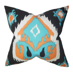The Pillow Collection - Djuna Orange 18 x 18 Ikat Throw Pillow - - Pillows have hidden zippers for easy removal and cleaning  - Reversible pillow with same fabric on both sides  - Comes standard with a 5/95 feather blend pillow insert  - All four sides have a clean knife-edge finish  - Pillow insert is 19 x 19 to ensure a tight and generous fit  - Cover and insert made in the USA  - Spot clean and Dry cleaning recommended  - Fill Material: 5/95 down feather blend The Pillow Collection - P18-PP-PREMIERIKAT-APACHE_MACO