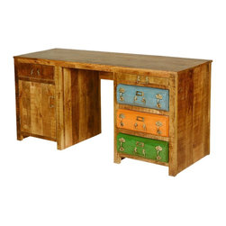 """Steam Punk Colorful Drawers Mango Wood & Iron Office Desk - Add imagination, creativity, and a sense of wonder to your work environment with our Steam Punk Office Desk. This classic work center is built with a large 64"""" by 21.5"""" desk top and a classic top drawer and one shelf storage cabinet on the left side. The right side features green, orange and blue iron drawer fronts, each decorated with three handles and an ID placard. A pullout wooden shelf is above the drawers."""