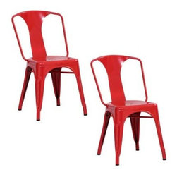 AmeriHome - AmeriHome Red Metal Dining Chairs, Set of 2 - These budget-friendly metal chairs would be perfect for an updated take on a vintage red and aqua kitchen. Plus, I think they'd also be great on a covered patio or porch!