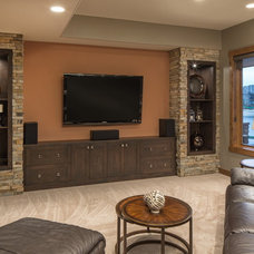 Transitional Family Room by Core Concepts Cabinets & Design