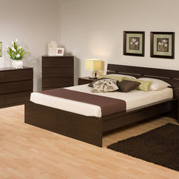 Prepac Furniture - Prepac Avanti 4 PC Bedroom Set (Queen Platform Bed, Two Nightstands and Dresser) - Avanti 4 Pcs Bedroom Set (Queen Platform Bed, Two Nightstands and Dresser) in Espresso by Prepac Furniture is more than just a practical addition to your bedroom. The integrated headboard offers a clever alternative to buying a bed and headboard separately, and its three horizontal slats will complement any modern space. The gently sloped headboard provides the perfect position for reading or watching television in bed. A  deep recess ensures that your mattress will fit snugly within the bed frame and sides are finished with sturdy wide rails. Storage space underneath the platform is ideal for baskets or tote boxes. The Avanti 2 Drawer Nightstand not only goes with everything, it fits everything, too. Two full-sized drawers provide ample space for bedside essentials like books, while the clean design blends in perfectly with your bedros cor. Put your lamp, alarm clock and reading glasses on top, and enjoy a practical yet stylish bedside solution. With a crisp style that fits in with any cor, this Night Stand is a practical addition to any home. Each piece is constructed from CARB compliant composite wood with an attractive and durable black laminate finish. Drawers have solid wood sides that run on metal drawer slides with built-in safety stops. The Avanti Six Drawer Dresser is just what your bedroom needs. Its six drawers have room for all your clothing, linens and whatever else you need out of sight. Display a mirror or other decorative accessories on top and take advantage of its minimalist versatility. Save space and complement your cor, all in one dresser. Simple straight lines and crisp clean form makes this dresser perfect for a bedroom. Each drawer glides for smooth, safe opening and closing and easy access to all of your clothing and belongings.