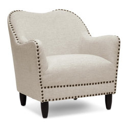 """Baxton Studio - Baxton Studio Seibert Beige Linen Modern Accent Chair - Outfit your living room with a distinguished design: our Seibert Modern Arm Chair showcases a streamlined silhouette of beige linen and antiqued bronze upholstery tack trim. This Chinese-crafted contemporary club chair is made with a birch and engineered wood frame, polyurethane foam cushioning, and black wood legs equipped with non-marking feet. The Seibert Chair requires minor assembly. Please note the seat cushion is not removable. Tidy up stains and spills by spot cleaning with a mild detergent and water. The Seibert Contemporary Accent chair's available in gray linen (sold separately). 30.625""""W x 29.25""""D x 32""""H, seat'sion: 21.5""""W x 19""""D x 18.375""""H, arm height: 24.625"""", legs at 5.25"""""""