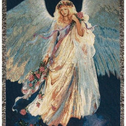 Manual - Messenger of Love Inspirational Angel Tapestry Blanket 50 Inch x 60 Inch - This multicolored woven tapestry throw blanket is a wonderful addition to any home. Made of cotton, the blanket measures 50 inches wide, 60 inches long, and has approximately 1 1/2 inches of fringe around the border. The blanket features a depiction of artist Mary Baxter St. Clair's 'Messenger of Love', angel inspired art. Care instructions are to machine wash in cold water on a delicate cycle, tumble dry on low heat, wash with dark colors separately, and do not bleach. This comfy blanket makes a great gift for friends and family.