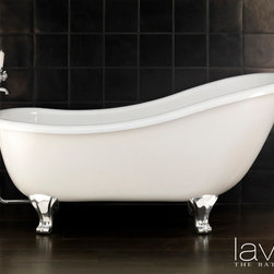 Specialty Bathtubs - This free-standing bathtub with beautiful, flowing lines is clearly  inspired and easily recognizable as a popular retro style. This large, comfortable tub is produced in cast iron with an enameled interior, and features a raised back on one side only. The external finish is rough and can be coated in a wide variety of colors.