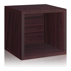 Way Basics - Way Basics Storage Cube, Espresso - Think inside the box! Create more space in close quarters with stackable modular storage cubes. Simple no-tool construction — just peel and stick — means you can build 'em in nothing flat. They're durable, versatile and formaldehyde- and VOC-free.