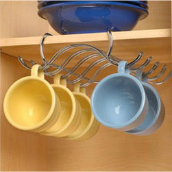 Under The Shelf Steel Cup Holder - Chrome - This Under the Shelf Coffee Cup Holder allows you to free up some cabinet space for other kitchen and dining items