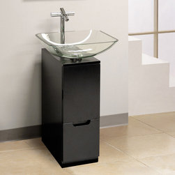 """BathAuthority LLC dba Dreamline - Modern 10"""" Bathroom Vanity (Black) with Mirror and Sink - This vanity combination from DreamLine proves that sometimes less is more. The compact design of the modern vanity offers smart storage features to maximize space. A unique square tempered glass vessel sink and matching wall mirror finish the vanity set."""