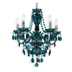 Kathy Kuo Home - Blue Green Global Bazaar Bohemian 5 Light Beaded Swag Chandelier - This five light chandelier proves that simple materials can make a grand statement.  Hand crafted from plastic this piece is hand built and therefore each one is totally unique and definitely fantastic!  With tear drops and beads, it can be hard wired or used a plug in.  Plug in kit included