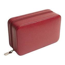 Wolf Designs - Queen's Court Zip Jewel Case - Red - A true Wolf Design classic. This Queen's Court Zip Jewel Case from royal collection of handcrafted jewel cases and travel accessories is made of red saffiano leather. The assortment features soft, brushed camel LusterLoc treated interiors, multiple storage compartments, key lock closures and shiny chrome fittings. This compact, versatile design offers a mini travel case with multi-compartment storage for your necklaces, rings and more.