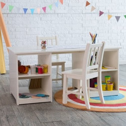 Classic Playtime Double Sided Activity Table with Optional Chairs - Vanilla - Give them the perfect space to indulge in their burgeoning artistic endeavors with the Classic Playtime Double Sided Activity Table with Optional Chairs - Vanilla. This adorable and functional set is crafted of durable engineered wood with wood veneers and finished in a warm shade of vanilla. Double-sided so no one feels left out the activity table is available with two optional matching chairs to complete the set. Extra support bars provide additional stability while four spacious open cubbies take care of storage needs. Perfect for little ones who love to stay active and great for encouraging creativity! This set is recommended for children ages three and up. About Classic PlaytimePlaytime doesn't require batteries or a screen and providing kids with a place to grow and learn doesn't require sacrificing your home's integrity. Classic Playtime is devoted to the idea that given constructive ways to explore their world and themselves children blossom in their own gardens. Our furniture is designed to be simple unique and functional in both kids' and adults' spaces. You'll find stylish and practical places for art activities reading writing building and somewhere to keep it all during downtime.