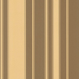 Gold & Chocolate Striped Wallpaper - Give your walls a traditional look with a modern flare with wallpaper from the Regent Collection by Brewster.
