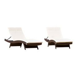 Lakeport Outdoor Adjustable Chaise Lounge Chair with Cushion, Set of 2