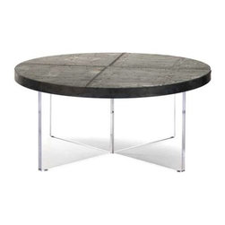 "Zentique - Alf Coffee Table by Zentique - Distressed zinc patchwork accented with numerous nail heads forms a circular table top supported by an ""X"" shaped acrylic base. The floating top illusion makes this an ideal choice for fronting an upholstered sofa. (ZEN) 18.25"" high x 40.5"" round"