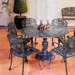 "Sea Island Patio Dining Set - 51"" - Hand crafted of durable non-rusting cast aluminum this line of patio furniture is constructed with reliability and longevity in mind. Each piece is finished to order."