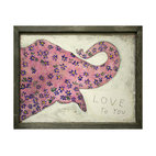 Pink Elephant Reclaimed Wood 'I Love You' Wall Art - There's something intoxicating about this pink elephant, covered in blue flowers, trumpeting its special message. Each print is surrounded by a handmade reclaimed wood frame, and comes ready to hang in your child's bedroom, your family room or anywhere you need to spread a little whimsical love.
