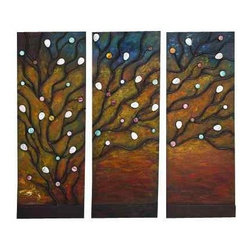 UMA - Windswept Tree Set of 3 - A tree is adorned by colorful bubbles and stretches its branches across three separate panels for a mind-bending look