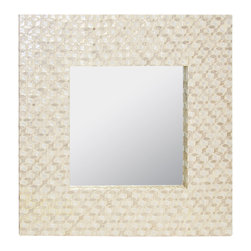 Kathy Kuo Home - Crescent Coastal Beach Capiz Shell Square Wall Mirror - Polished capiz shells, artfully arranged in a floral mosaic, form a fabulous frame around a square mirror. The versatile, visual bouquet can be placed on a floor or dresser, as well as mounted on a wall. Reflect a modern, beach motif in this magnificent mirror.