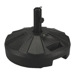 "PLC - Black Umbrella Stand - Molded resin umbrella stand with stainless steel hardware. For use with freestanding umbrellas up to a 1 - 5/8"" diam. pole. Easy fill spout and cap to secure up to 50 lbs. of sand filler for weight.  Dimensions: 11-1/2 "" tall X 16"" diam."