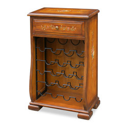 China Furniture and Arts - Hand Painted Wine Cabinet - Made of hardwood, the classic color of our wine cabinet is perfect to serve as background for your extensive wine collection. Nicely spaced racks provide convenient storage. An indispensable drawer is built in for your wine utensils. This is a cabinet that can proudly occupy a corner of your dinning room.